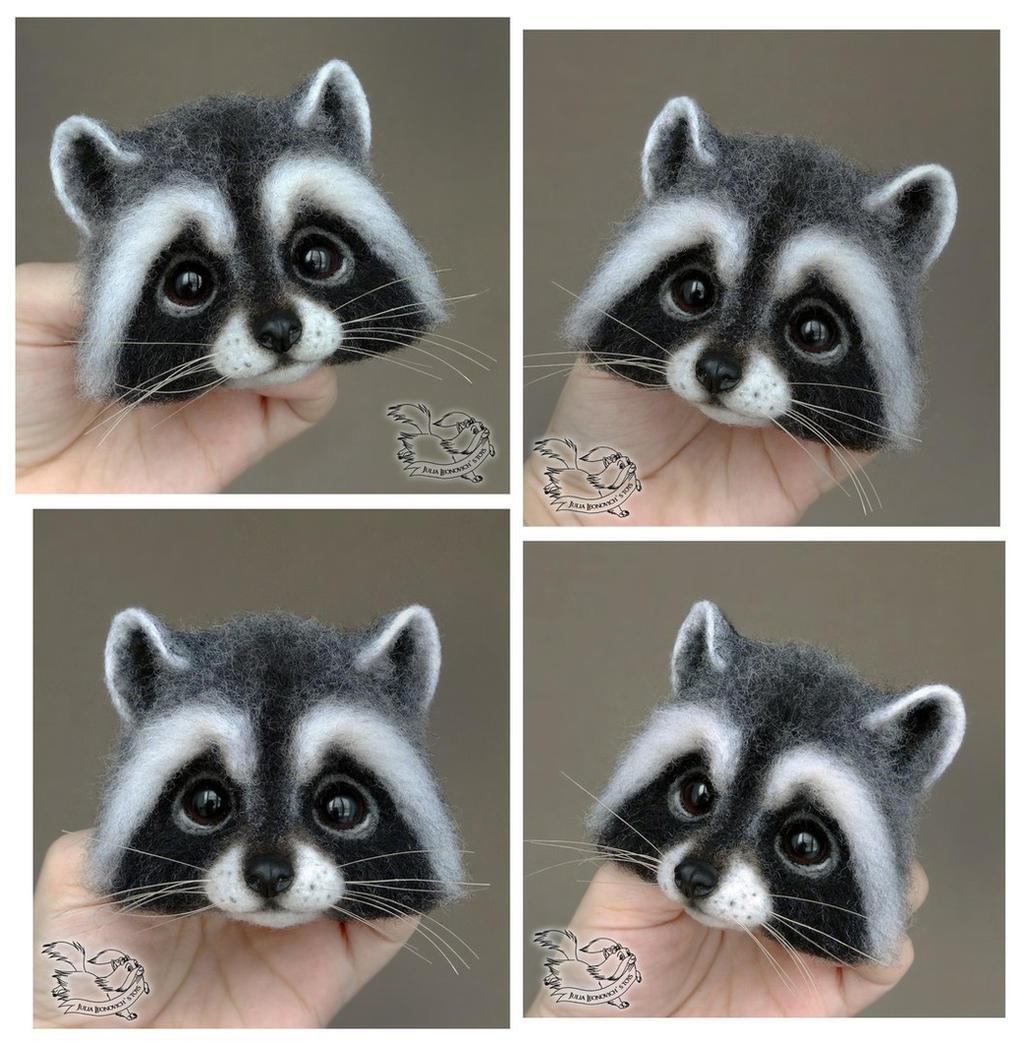 Needle Felted Brooch Raccoon by YuliaLeonovich