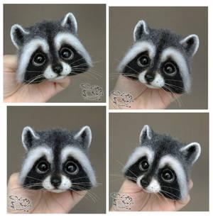 Needle Felted Brooch Raccoon