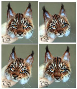 Needle Felted Brooch lynx