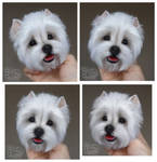 Needle felted magnet West Highland White Terrier