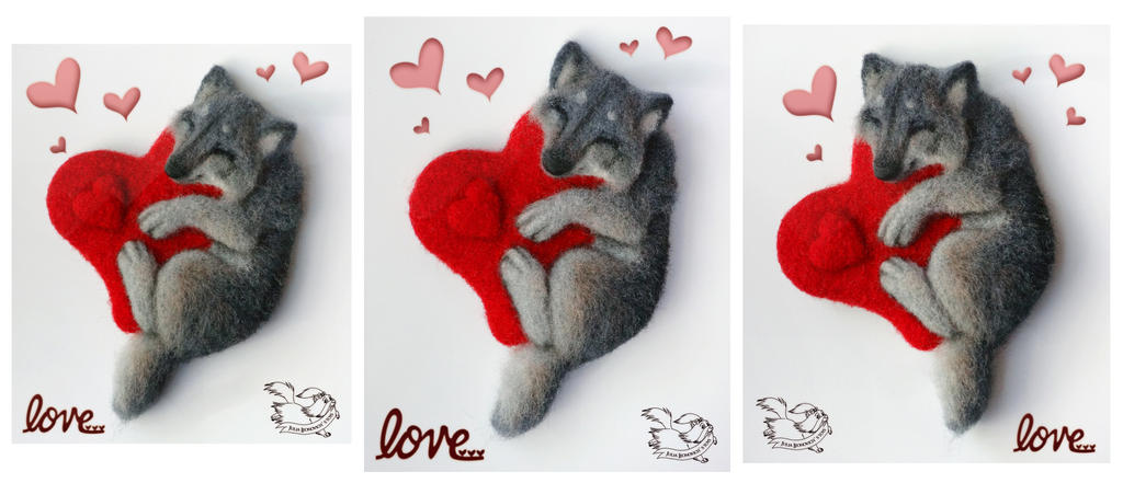 Needle felted magnet wolf cub