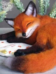 Needle Felted Fox by YuliaLeonovich