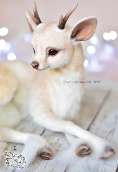 Needle felted fantasy deer by YuliaLeonovich