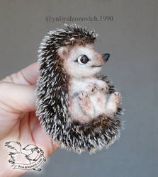 Needle Felted Brooch Hedgehog by YuliaLeonovich