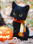 Needle felted black Cat on Halloween