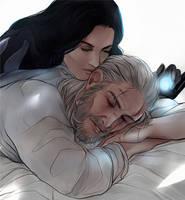 Geralt and Yennefer colored sketch