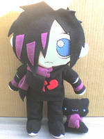 Emo Boy Plushie and his Kitty by VioletLunchell