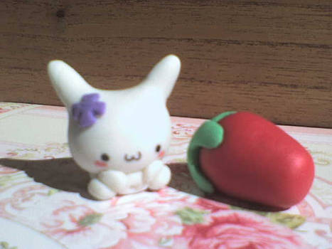 cute bunny and strawberry