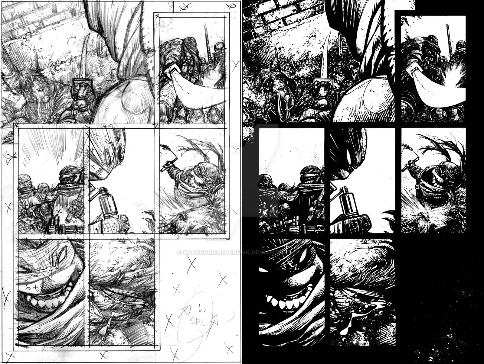 TMNT page 8 Pencils and Inks