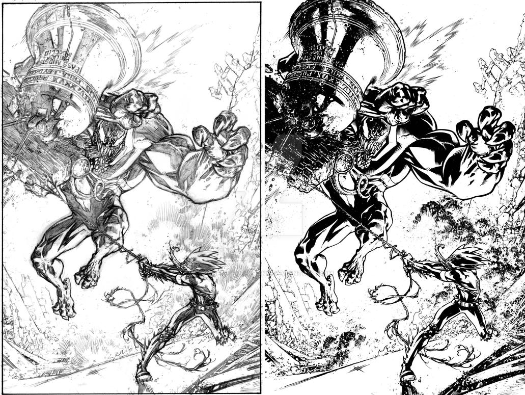 Venom Spaceknight Cover 13  Pencils and Inks Combo by Spacefriend-KRUNK