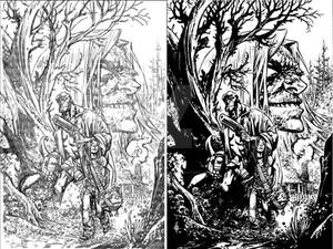 Hellboy Issue1 Cover pencils and inks