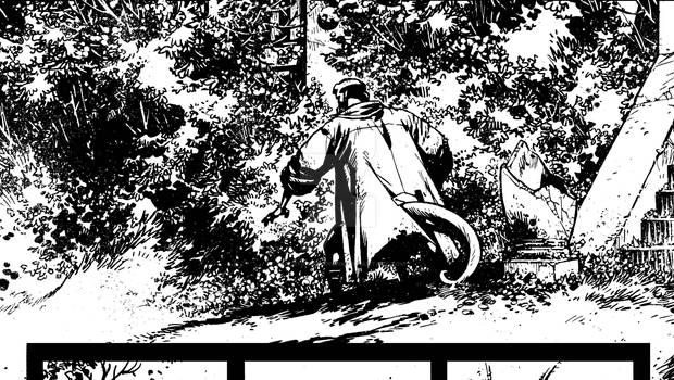 Hellboy: The Retun of Effie Kolb panel crop inks 2
