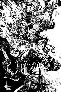 Hellboy and Lobster Johanson commission