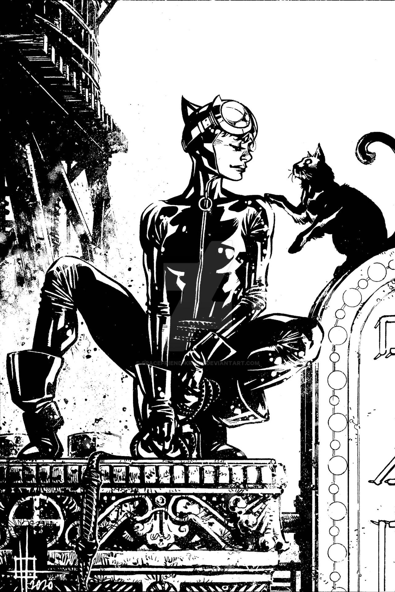 Catwoman commission inks