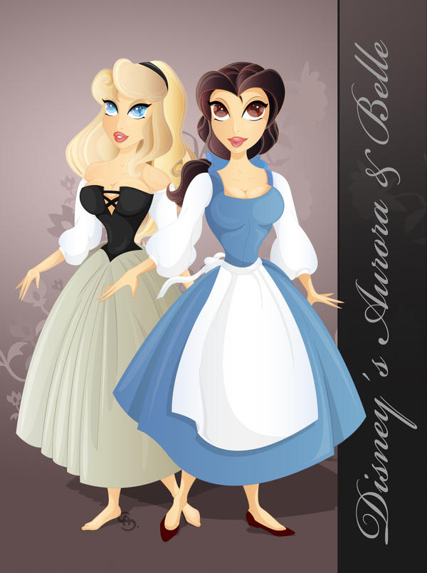 Disney, Aurora and Belle by yvaine2010