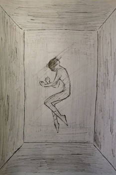 Human figure lying in obscure room