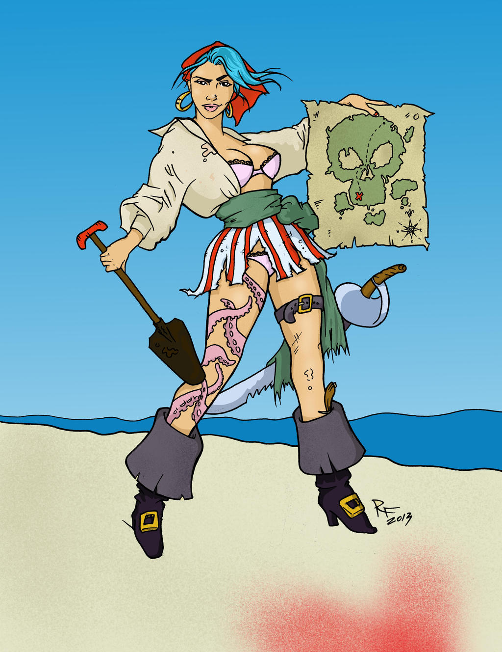 Pirate girl pin up drawing - photo#13
