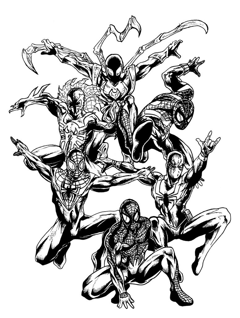 Inks for 5 SpiderMan Versions by jbyrd117 on DeviantArt