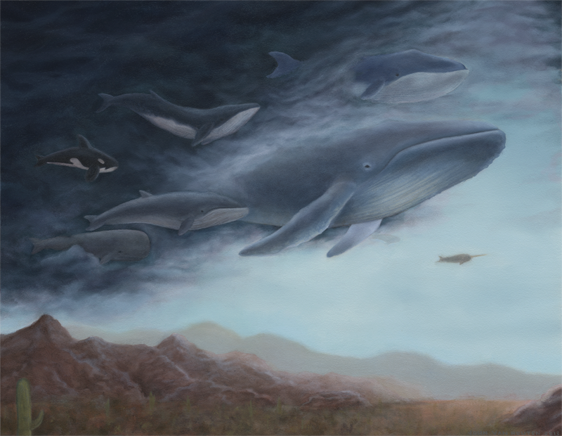 Flying Whales - Oil Painting by jbyrd117