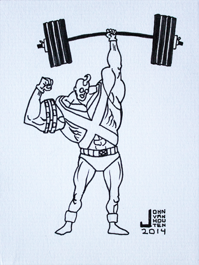 Strong Guy Inktober 2014 Drawing by jbyrd117