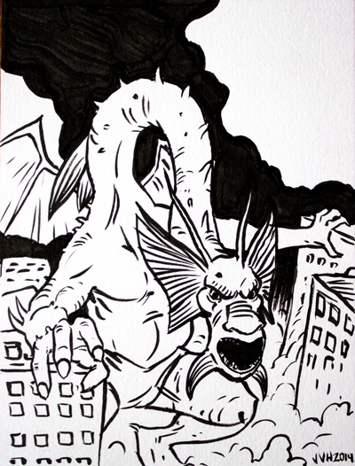 Fin Fang Foom Inktober 2014 Drawing by jbyrd117