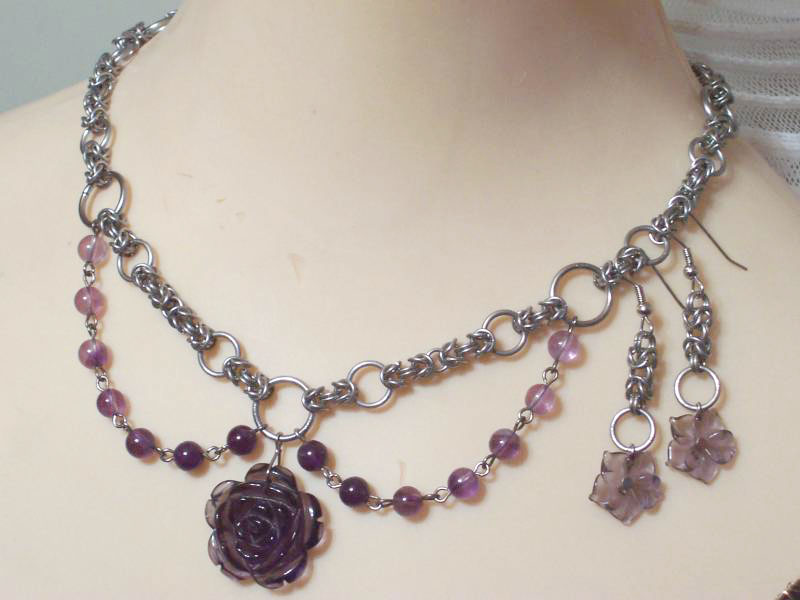 Amethyst Rose Necklace by hwkwlf