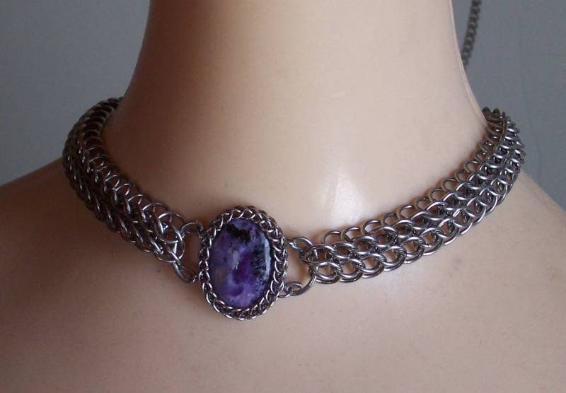 Charoite Wrapped Choker by hwkwlf