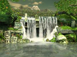 Mayan waterfall background 1 by indigodeep