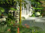 Mayan waterfall background 2