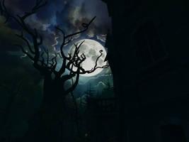 Haunted house background 1 by indigodeep