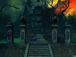 Haunted house background 4 by indigodeep