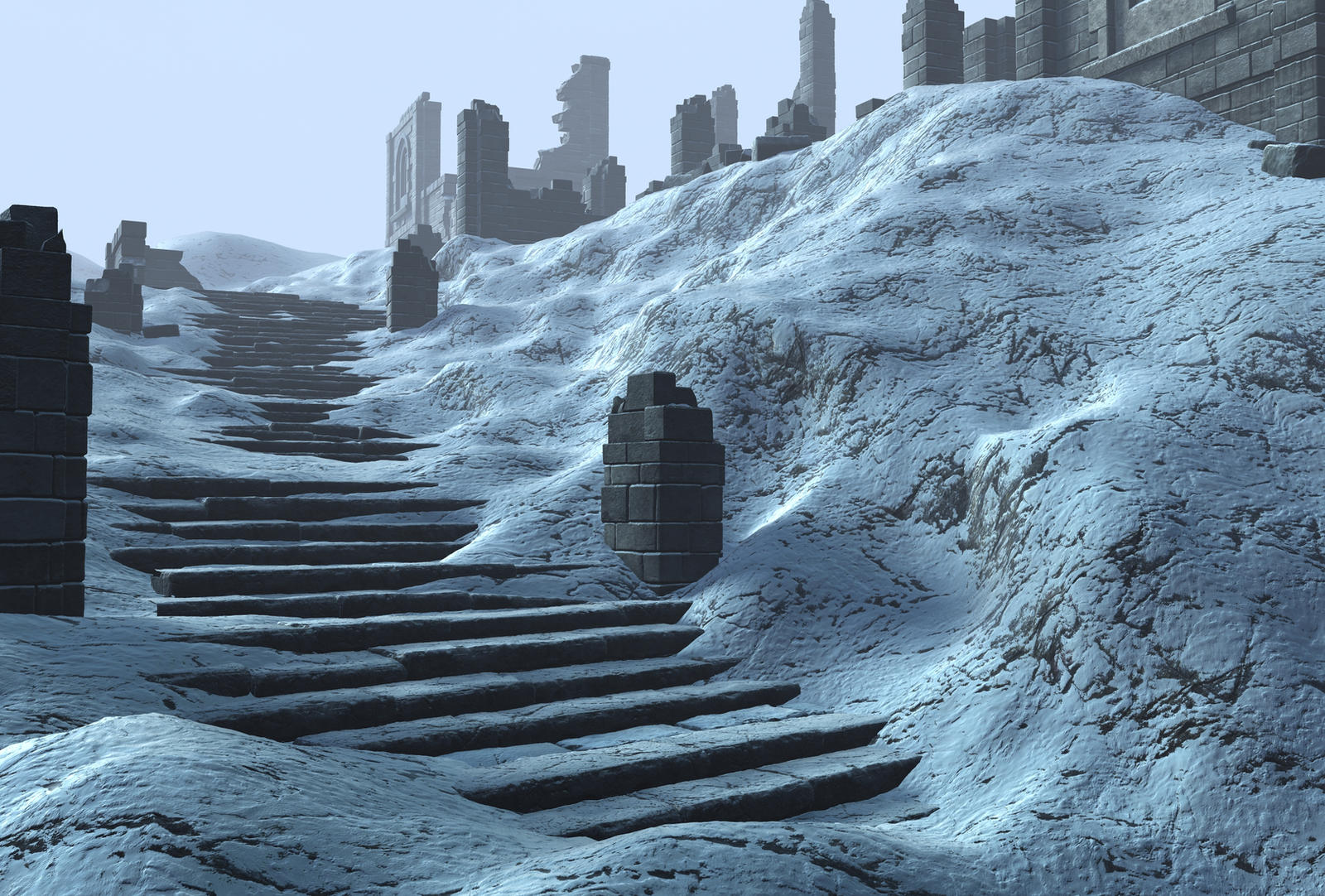 winter ruin background 2 by indigodeep