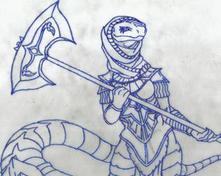 Practice Sketch: Yuan-Ti Cleric WIP