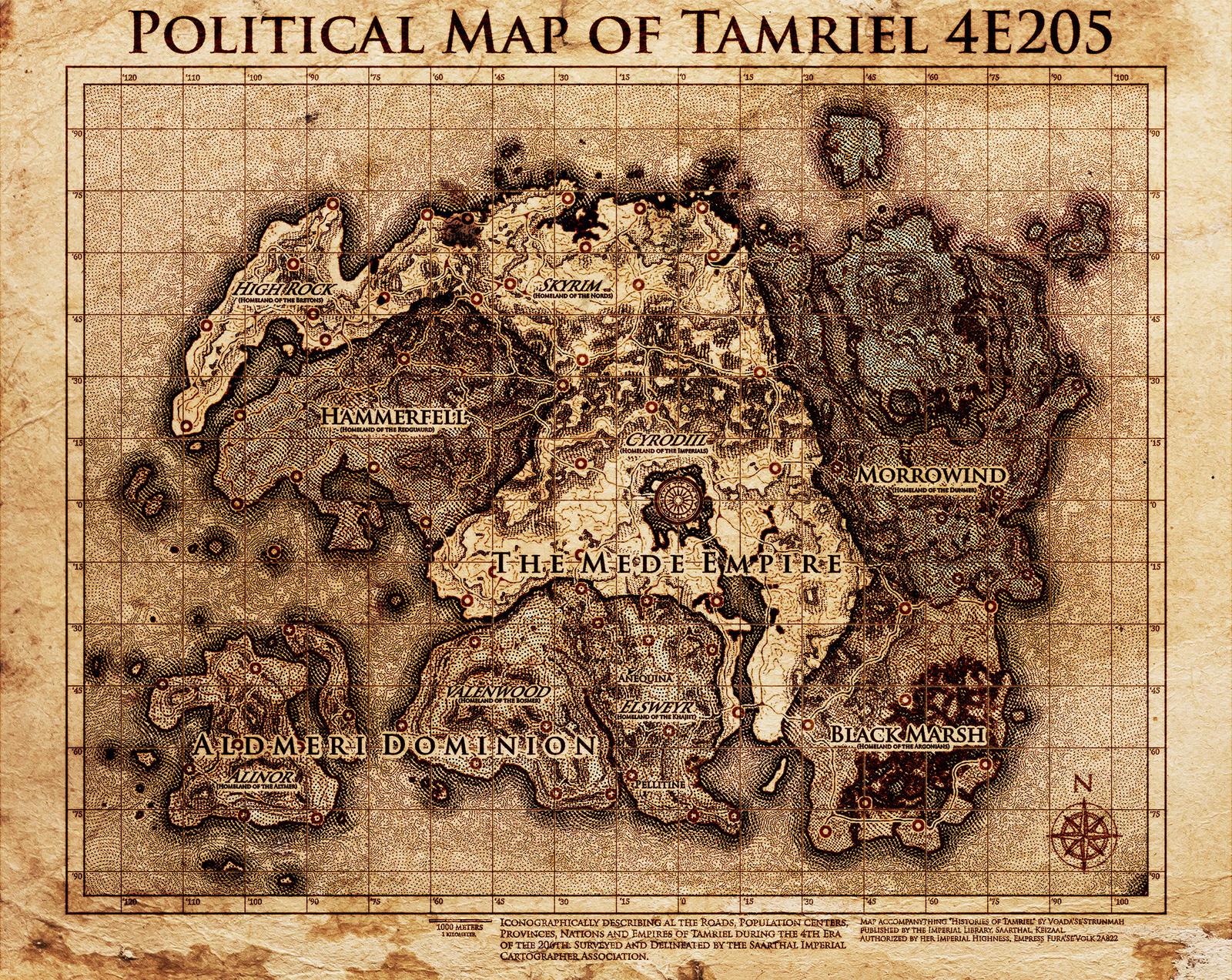 Elder Scrolls Political Map Tamriel By Dovahfahliil On