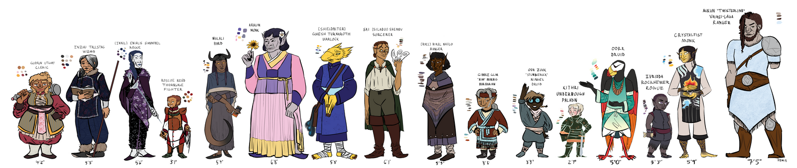 DnD 5e Height Comparison by Teela-B