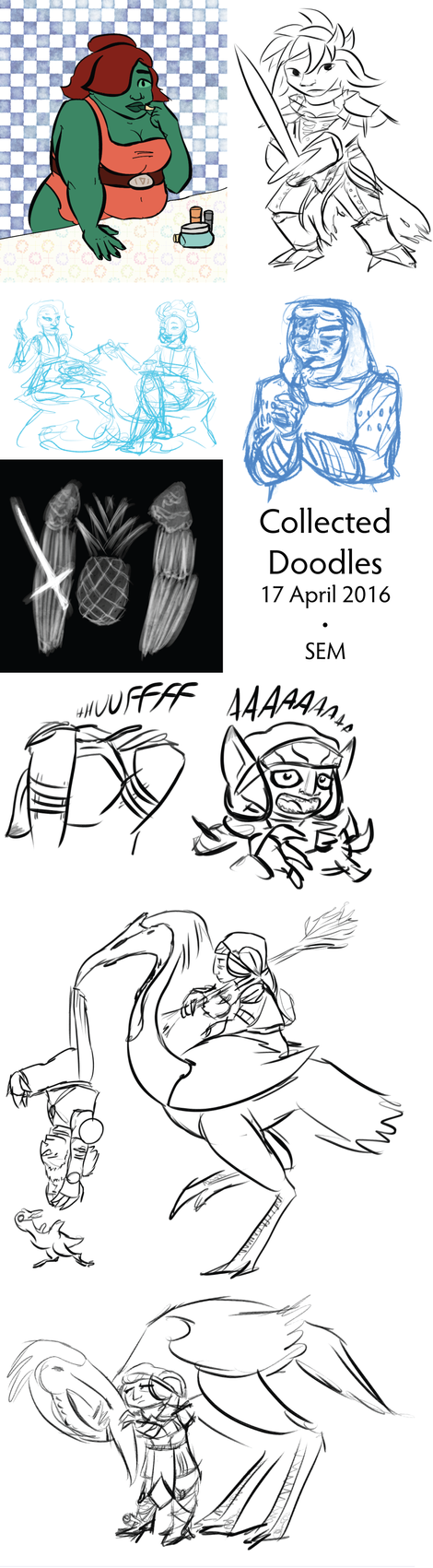 Collected Doodles 17 April 2016 by Teela-B