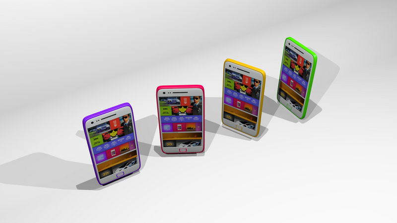 Casual render of cellphone with webpage on screen