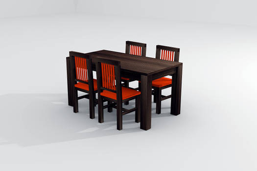 Table and chairs in 3D