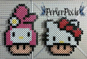 My Melody and Hello Kitty Mushrooms by PerlerPixie
