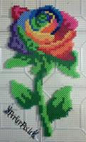 Rainbow Rose by PerlerPixie
