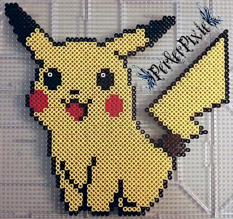Sitting Pikachu by PerlerPixie