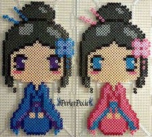 Blue and Pink Kimono Girls by PerlerPixie