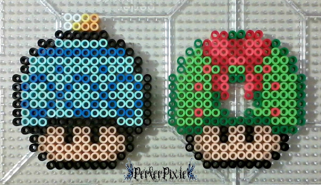Christmas Bulb and Wreath Mushrooms by PerlerPixie