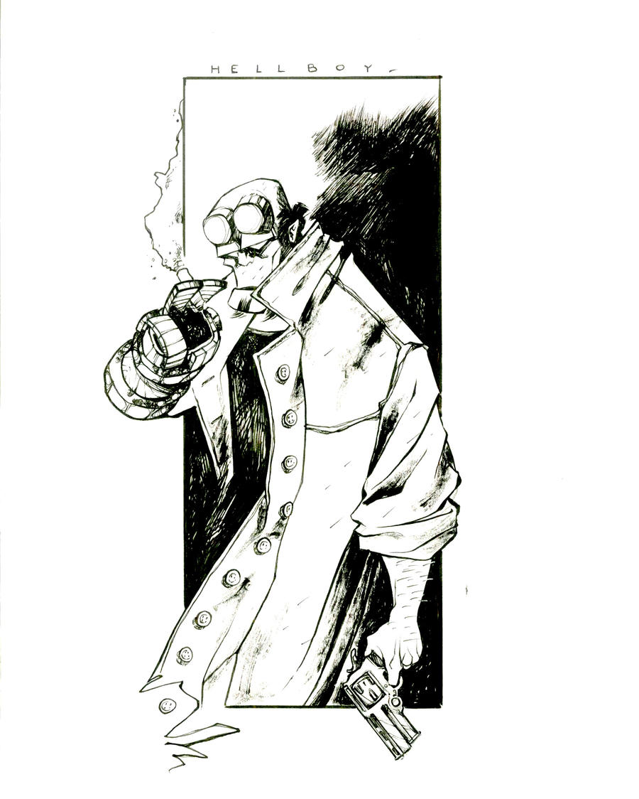Hellboy_ink by ValeLuche