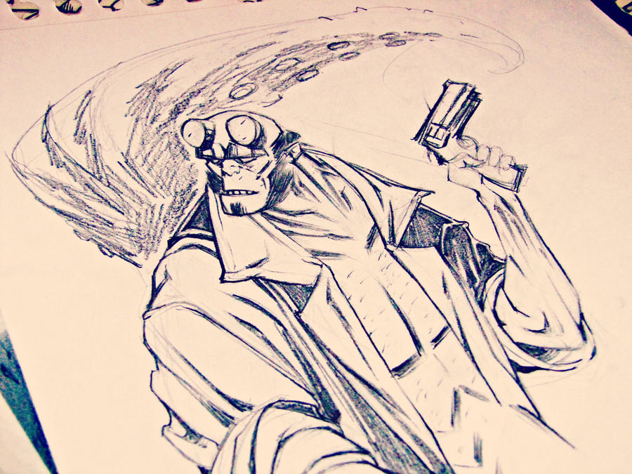 Sketch_Hellboy by ValeLuche