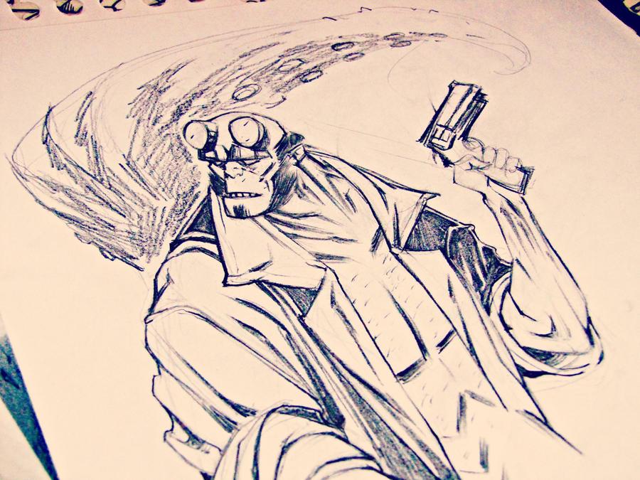 Sketch_Hellboy by ValeLuche