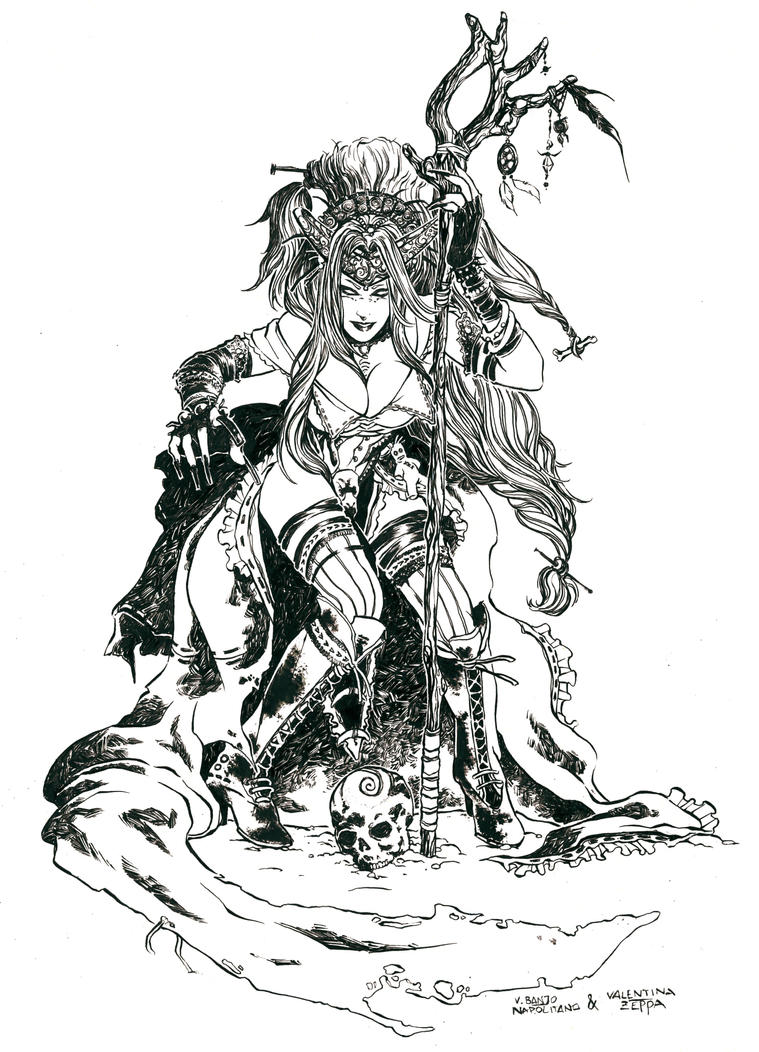 Dark Witch_Inking by ValeLuche