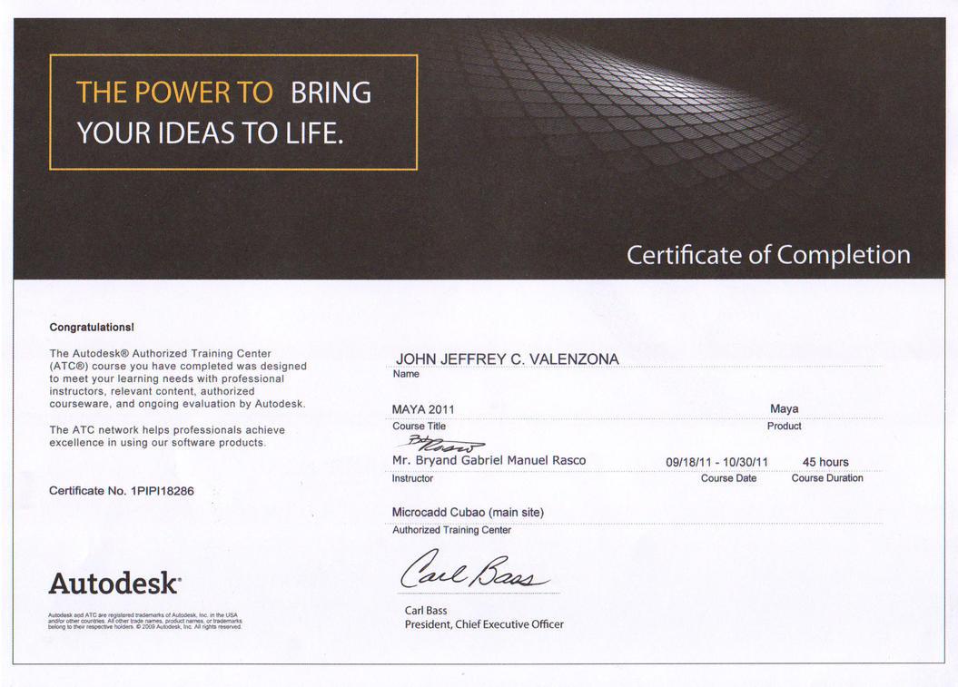 Microcadd Certificate Maya2011 by Jepoi