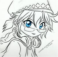 [VOCALOID] Kagamine Len sketch (lineart) by HunterK