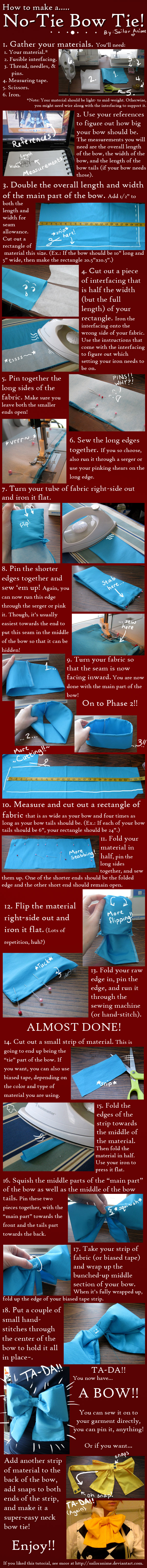 No-Tie Bow Tutorial by SailorAnime